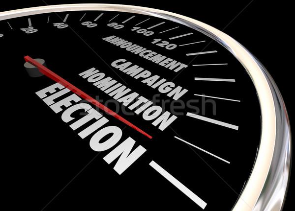Verkiezing democratie campagne snelheidsmeter 3D Stockfoto © iqoncept