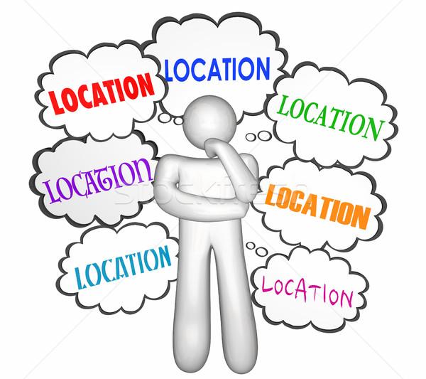 Lokalizacja nieruchomości domu domu myśliciel Zdjęcia stock © iqoncept