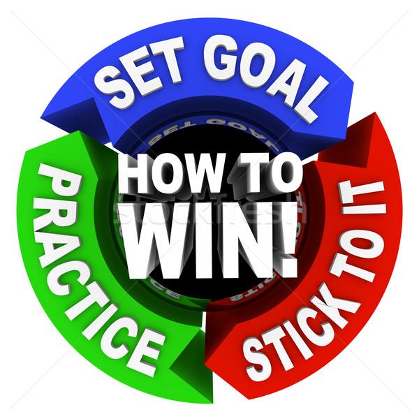 Győzelem nyilak tanács szett célok gyakorlat Stock fotó © iqoncept