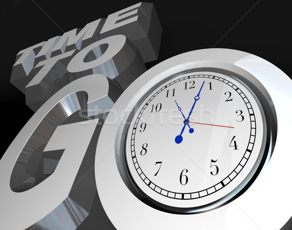 Time to Go 3D Words Clock Counting Down Moment to Start Stock photo © iqoncept