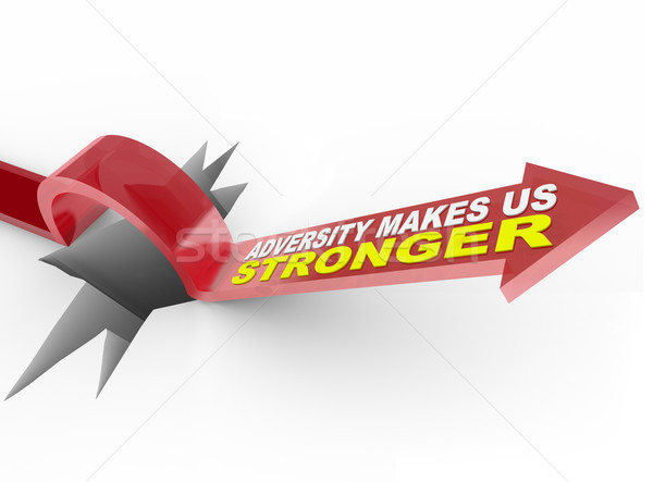 Adversity Makes Us Stronger - Arrow Jumps Over Hole Stock photo © iqoncept