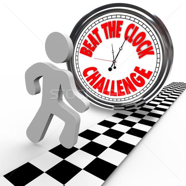 Bater relógio desafiar contagem regressiva corredor concorrente Foto stock © iqoncept