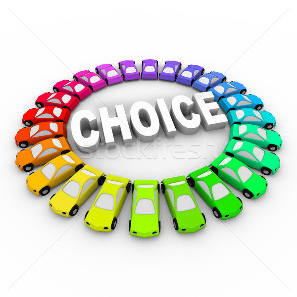 Choice - Colored Cars Around Word Stock photo © iqoncept