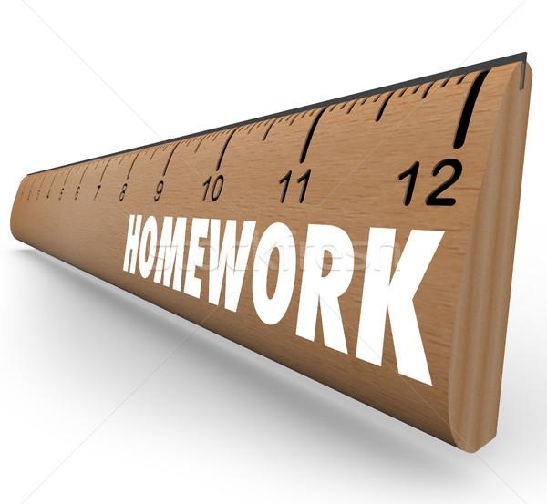 Praca domowa władcy lekcja projektu szkoły Zdjęcia stock © iqoncept