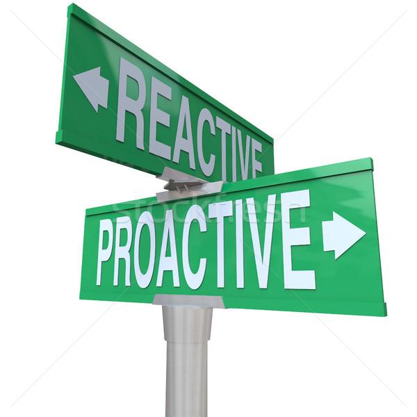 Proaktív vs kettő út jelzőtáblák választ Stock fotó © iqoncept