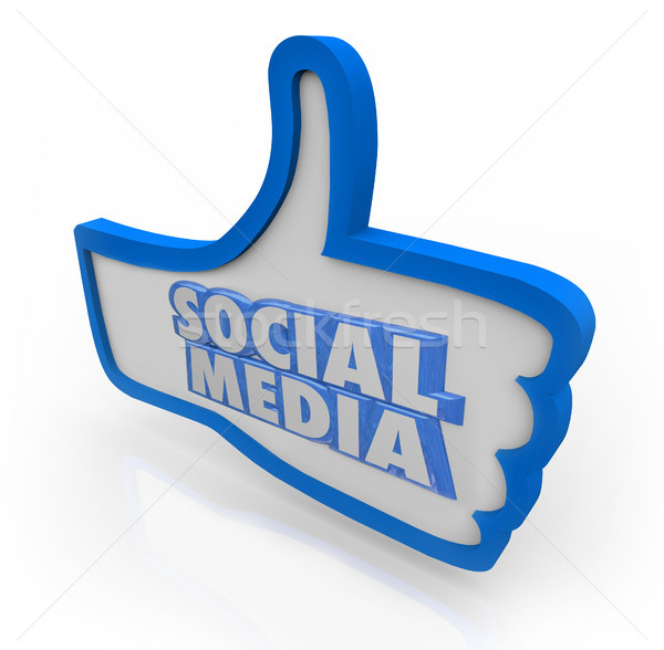 Social Media Words Blue Thumbs Up Community Network Stock photo © iqoncept