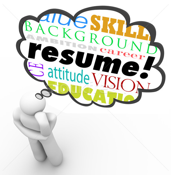Resume Word Thought Cloud Bubble Man Thinking Experience Stock photo © iqoncept