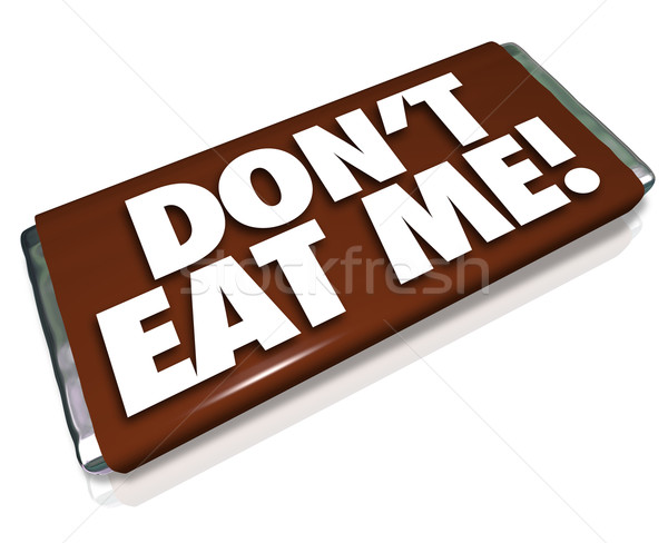 Don't Eat Me Words Chocolate Candy Bar Unhealthy Junk Food Stock photo © iqoncept