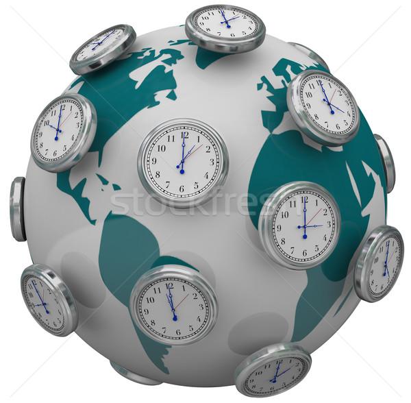 International Time Zones Clocks Around World Global Travel Stock photo © iqoncept