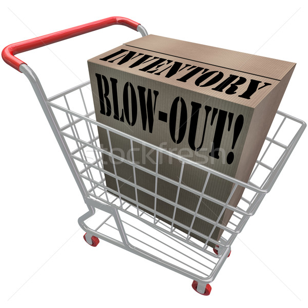 Inventory Blowout Words Cardboard Box Shopping Cart Blow-Out Stock photo © iqoncept