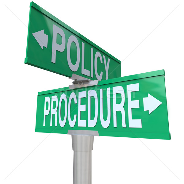 Policy Procedure Two Way Street Road Signs Intersection Company  Stock photo © iqoncept