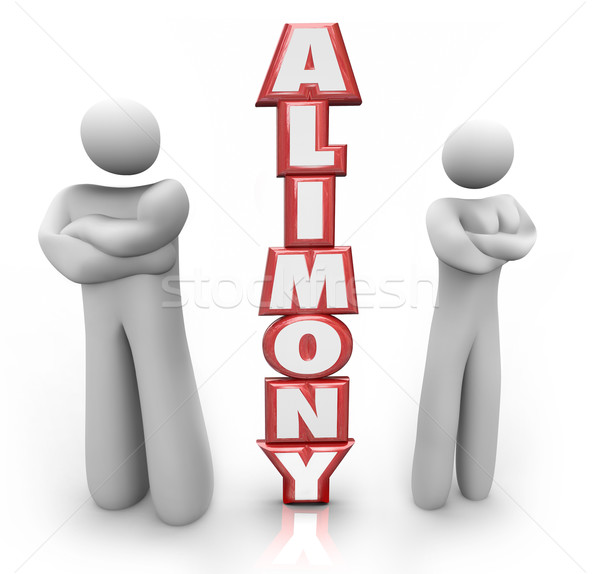 Alimony 3D Word Divorced Couple Ex Husband Wife Stock photo © iqoncept