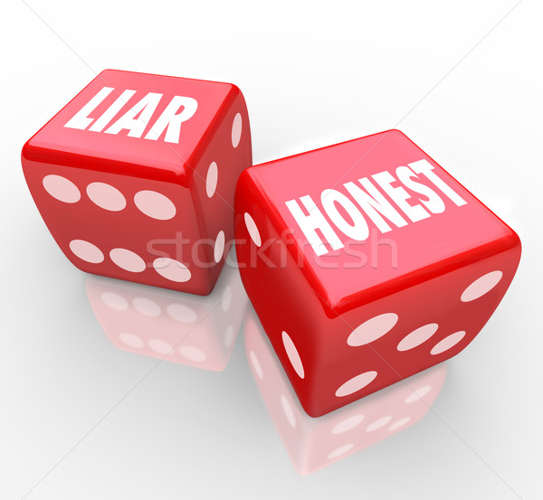 Honest Vs Liar Two Red Dice Words Sincerity Dishonesty Stock photo © iqoncept