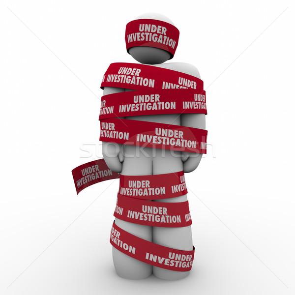 Onderzoek woorden bureaucratie rond man criminaliteit Stockfoto © iqoncept