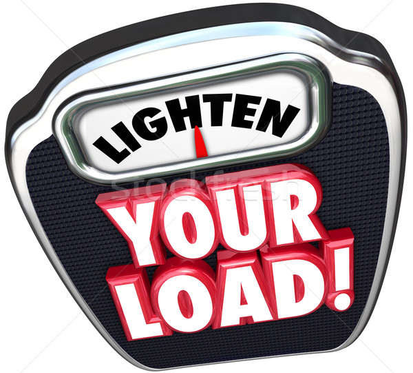 Lighten Your Load 3d Words Scale Reduce Workload Stock photo © iqoncept