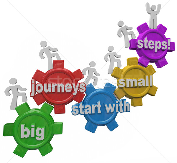 Big Journeys Start With Small Steps People Marching Up Climbing  Stock photo © iqoncept