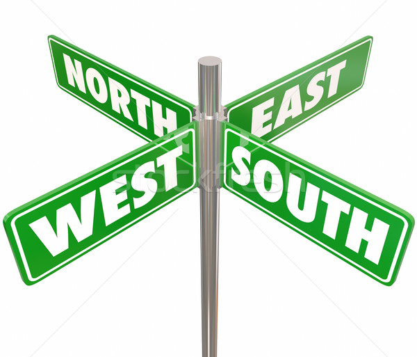 North South East West 4 Way Green Road Signs Intersection Stock photo © iqoncept