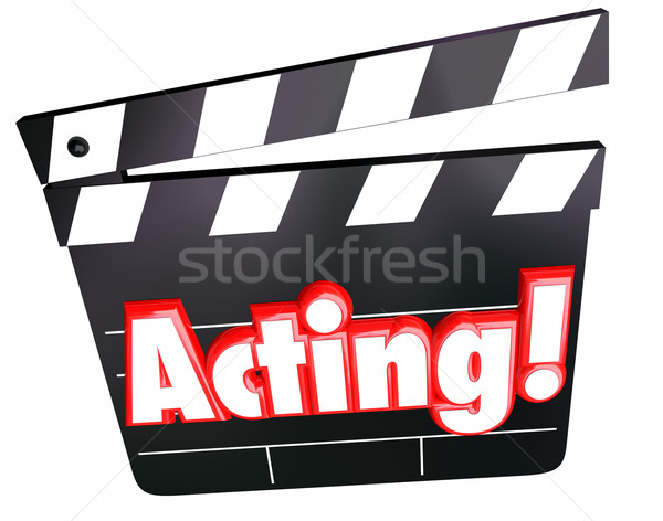 Acting Word Movie Film Cinema Clapper Board Performing Drama Com Stock photo © iqoncept