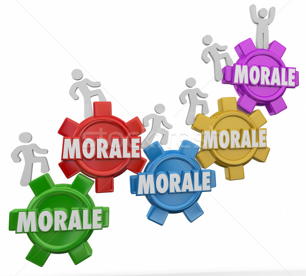 Morale Gears Workers Marching Climbing Up Team Spirit Mood Attit Stock photo © iqoncept