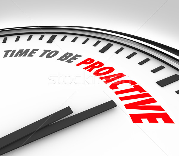 Time to Be Proactive Words Clock Attitude Ambition Success Stock photo © iqoncept