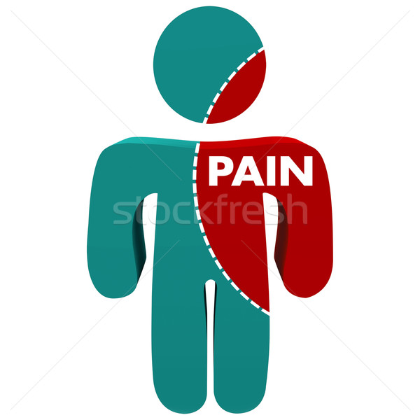 Pain Word Dotted Line Person Infection Injury Spreading Discomfo Stock photo © iqoncept
