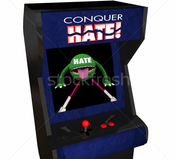 Conquer Hate Beat Defeat Hatred Love Peace Video Game 3d Illustr Stock photo © iqoncept