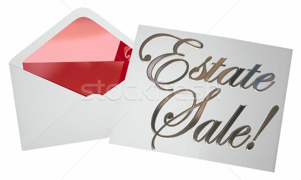 Verkoop uitnodiging envelop reclame garage Stockfoto © iqoncept