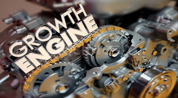 Growth Engine Increase More Results Improve Words 3d Illustratio Stock photo © iqoncept