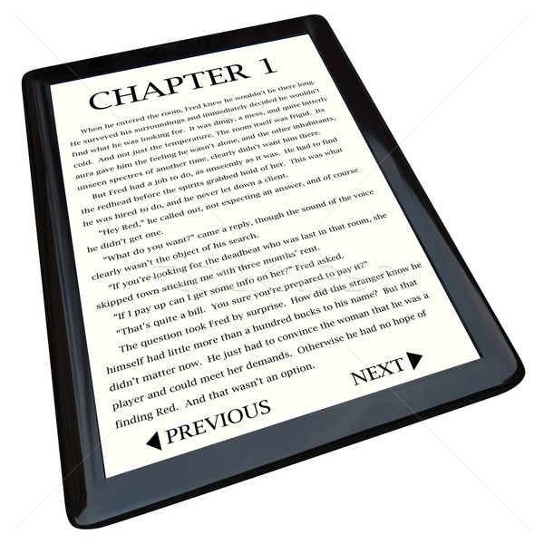 E-Book Reader with Novel on Screen Stock photo © iqoncept