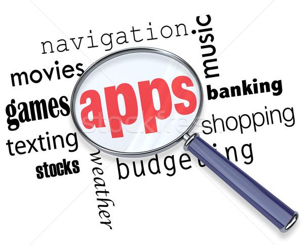 ストックフォト: 見つける · アプリ · 虫眼鏡 · ホバリング · いくつかの · 単語
