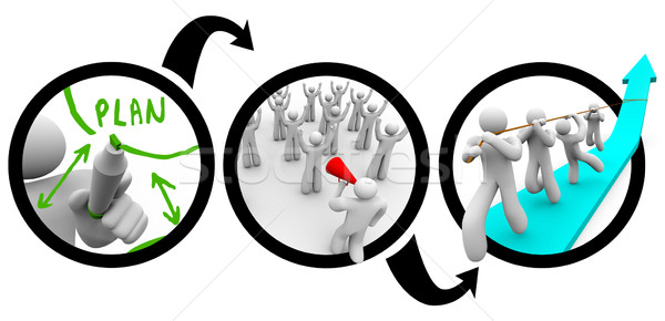 Leader Plans to Succeed with Teamwork in Reaching Goal Diagram Stock photo © iqoncept