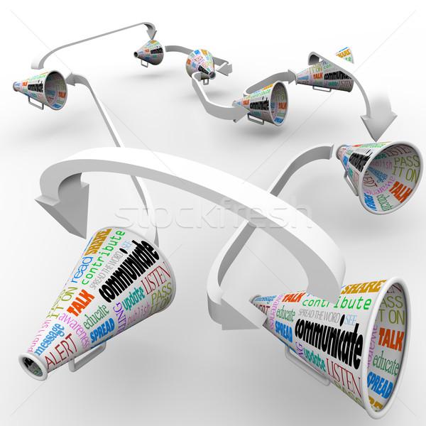 Communication Connected Bullhorns Megaphones Network Stock photo © iqoncept