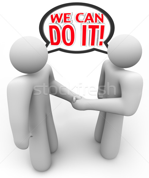 We Can Do It Two People Speech Bubble Handshake  Stock photo © iqoncept