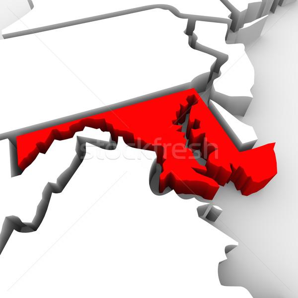 Maryland czerwony streszczenie 3D Pokaż Stany Zjednoczone Zdjęcia stock © iqoncept