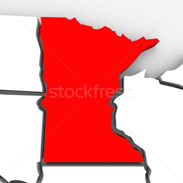 Minnesota kırmızı soyut 3D harita Amerika Birleşik Devletleri Stok fotoğraf © iqoncept