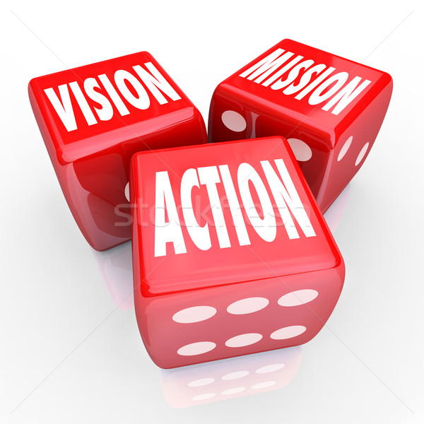 Vision Mission Action Three Red DIce Goal Strategy Stock photo © iqoncept