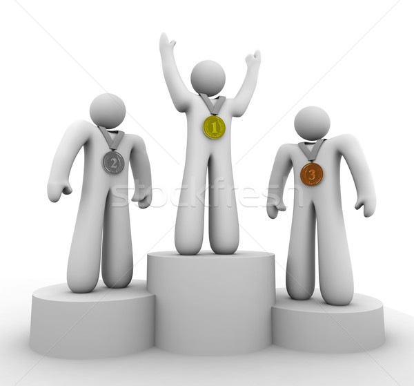 Stock photo: First Second Third Place - Winners with Medals