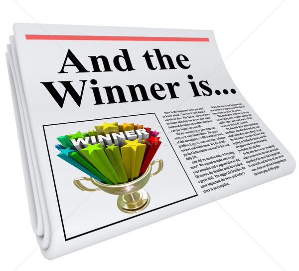 And the Winner Is Newspaper Headline Announcement Trophy Stock photo © iqoncept