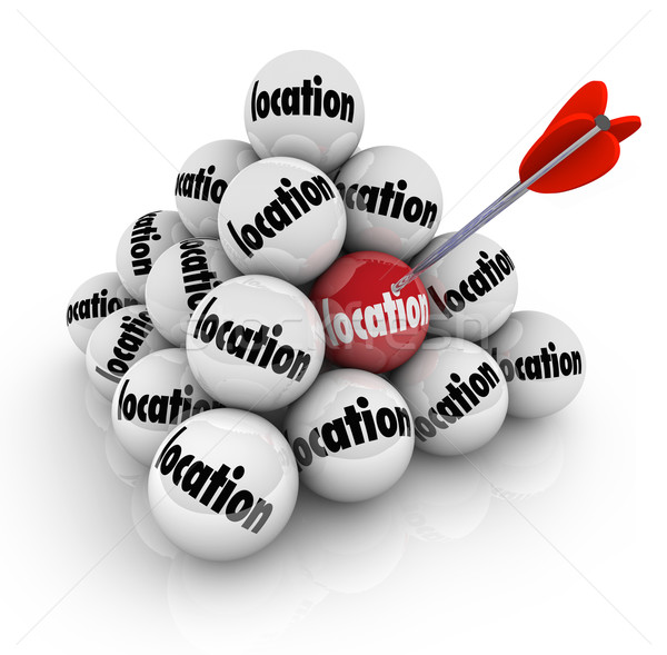 Location Ball Pyramid Many Choices Choose Best Place Area Stock photo © iqoncept
