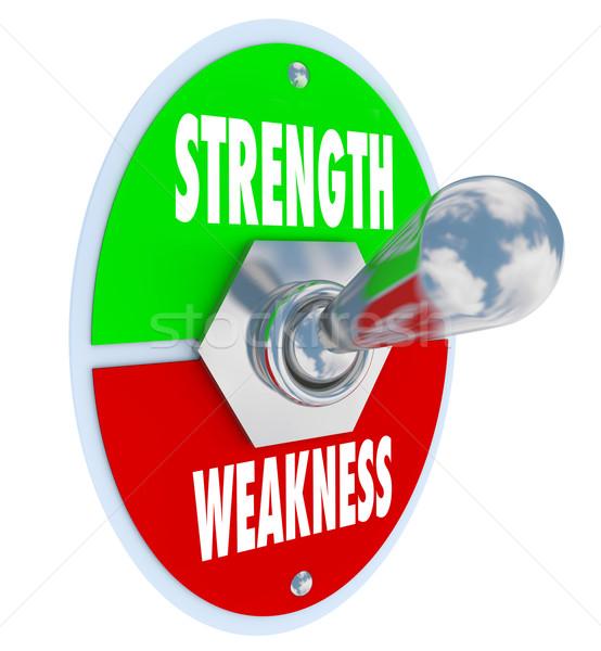 Stock fotó: Erő · vs · gyengeség · kapcsoló · választ · erős