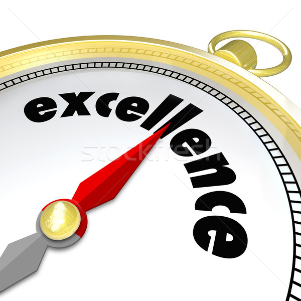 Excellence Word Gold Compass Great Direction Aiming Greatness Stock photo © iqoncept