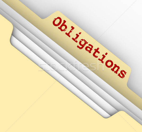 Stock photo: Obligations Word Manila File Folder Responsibilities Documents