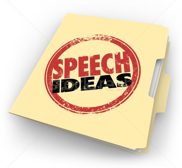 Speech Ideas Stamp Manila Folder Public Speaking Advice Tips Stock photo © iqoncept