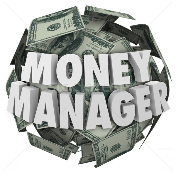 Geld manager 3D woorden bal cash Stockfoto © iqoncept
