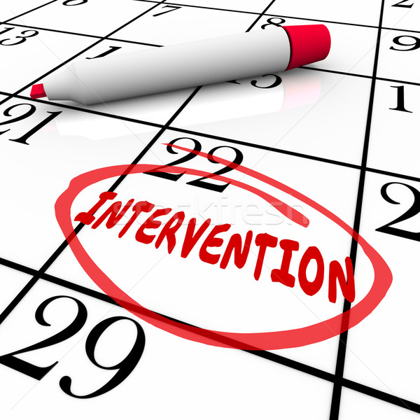 Intervention Word Circled Calendar Help Addiction Treatment Stock photo © iqoncept