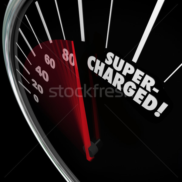Supercharged Word Speedometer Power Boost Faster Increase Stock photo © iqoncept