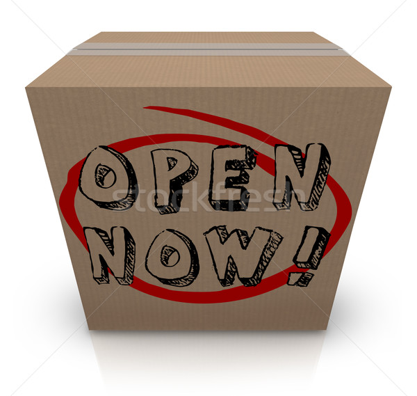 Open Now Cardboard Box Urgency Immediate Action Required Stock photo © iqoncept