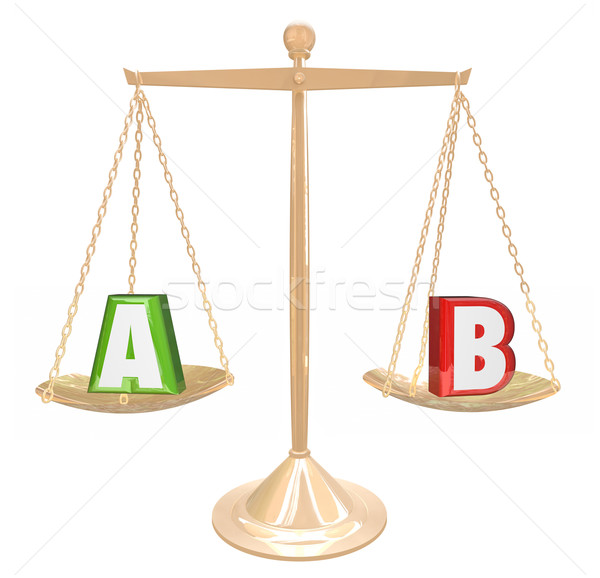 A B Testing Gold Scale Balance Comparing Choices Options Researc Stock photo © iqoncept