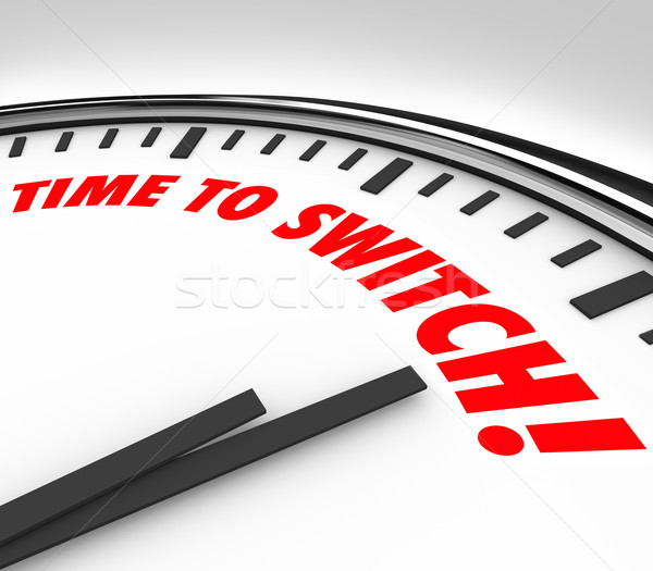 Stock photo: Time to Switch Clock Words Change Reverse Course