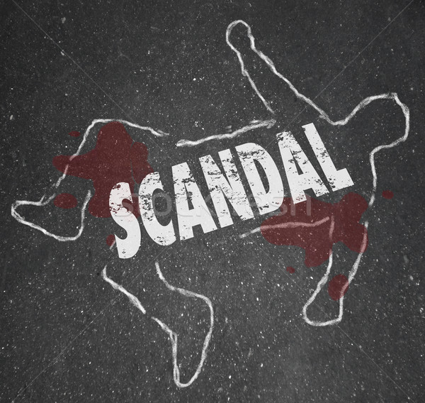 Scandal Dead Chalk Outline Killed Body Rumors Gossip Murder Stock photo © iqoncept